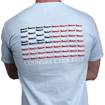 Longshanks & Stripes Tee Shirt in Chambray by Country Club Prep
