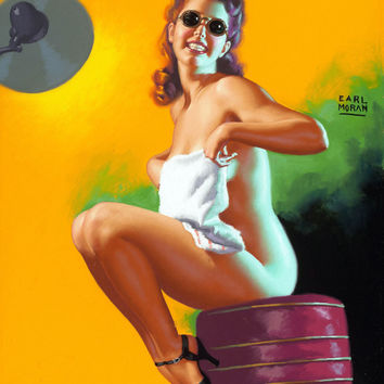 Pin-Up Girl Wall Decal Poster Sticker - Is My Face Red - Red Hair Redhead Pinup Pin Up