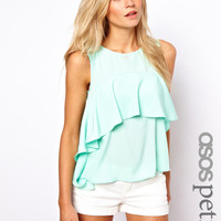 ASOS PETITE EXCLUSIVE Ruffle Top With Split Back