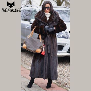 Luxury Women Winter Real Fur Nature Mink Fur Coats Plus Size Especially Female With Big Hooded X-long Customise Mink Coat Jacket
