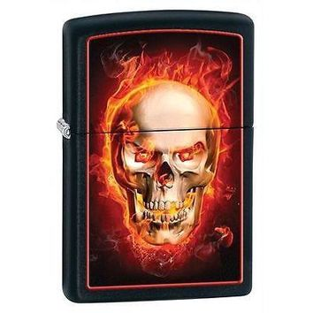 unique Gothic Punk Rock Biker Zippo Burning Skull Black Matte Cigarette Lighter