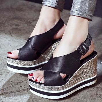 Summer Wedge Sandals Peep Toe Stylish Anti-skid Thick Crust Casual High Heel Leather Shoes Boots [6050215681]
