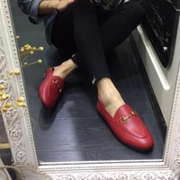 GUCCI Old Skool Women Fashion Leather Flats Shoes-3