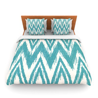 "Heidi Jennings ""Tribal Chevron Aqua"" Lightweight Duvet Cover"