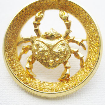Park Lane Cancer The Crab Zodiac Brooch - Designer Signed 60s Zodiac Similar To Crown Trifari Zodiac Collection - June July Birthday Gifts