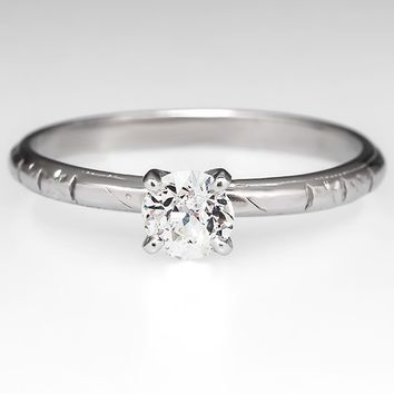 Vintage Solitaire Engagement Ring w/ Old Euro Diamond Platinum