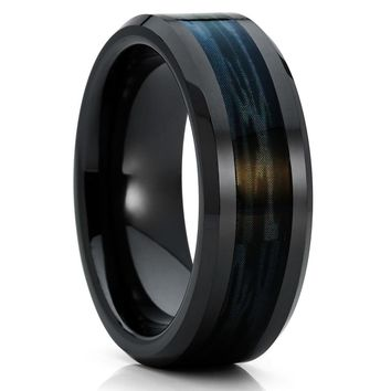 Black Titanium Wedding Band - Camo Ring - Men's Wedding Ring - 8mm