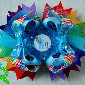 My little pony  hair bow, rainbow dash ott bow, boutique hair bow for girls, layered  bow