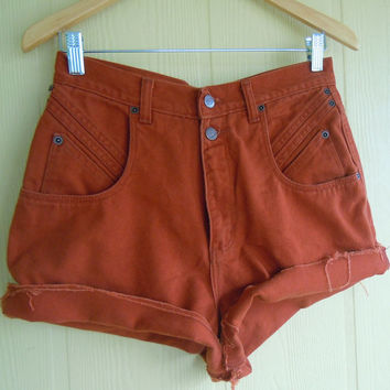 tribal cut off cheeky shorts . high waisted . vintage 90s . ethnic brown . 28 waist