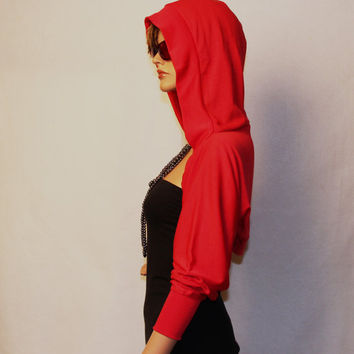 Red  hooded sewater shrug bolero HS-RD