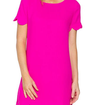 Scalloped Hem Shift Dress - Hot Pink