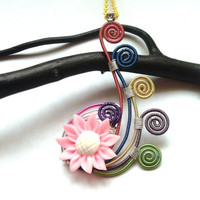 Wire And Sunflower Pendant, Wire Wrapped Rainbow Freeform Necklace, Nature Inspired Pink Sunflower Pendant, Unique Wire Wrapped Jewelry