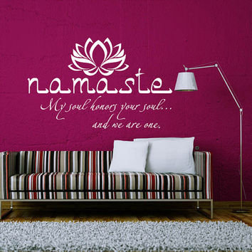 Wall Decals Quotes Vinyl Sticker Decal Art Home Decor Mural Buddha Quote Wall Decal Sign Words Namaste Yoga Mandala Lotus Bedroom Dorm AN354