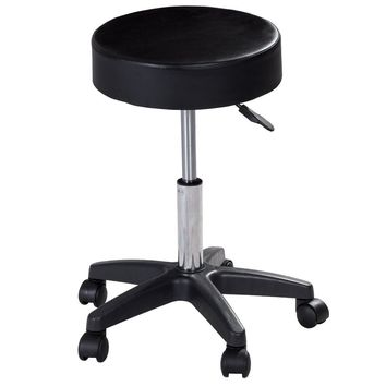 1 PC Adjustable Hydraulic Rolling Swivel Bar Stool Massage Spa Beauty Seat Black