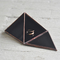 NEW Pyramid Display Box - black glass pyramid - jewelry box - hinged - silver or copper - eco friendly