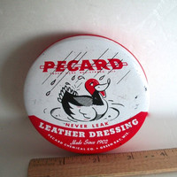Vintage Pecard Leather Dressing Tin 1970s Some Wear  3 & 1/4 Inches  X 7/8 Inches