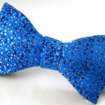 SALE - 1/3 Off - Freestyle Silk Bowtie - Royal Blue Dots - 'Splatter I'