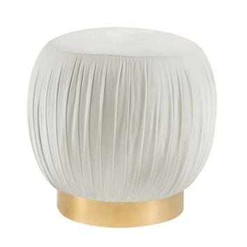 Tulip Cream Velvet Ottoman | Overstock.com Shopping - The Best Deals on Ottomans
