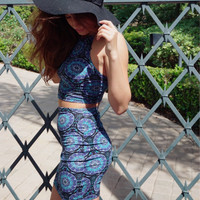 """Mandala"" Blue 2-Pc Set"