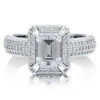 Sterling Silver 925 Emerald Cut Clear Cubic Zirconia CZ Halo Ring #r491-02