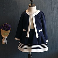 New kids Clothes Girls Clothing Set  Jacket + Skirts Suits Children Formal School Uniform