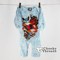 Baby Playsuit Family Forever Respect Tattoo blue Bodysuit for infant toddlers