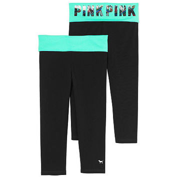 Foldover Waist Crop Yoga Legging - PINK - Victoria's Secret