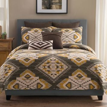 Sierra Quilt in Grey/Gold
