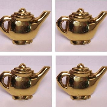 Tea Pot Knob Pulls. Four (4) Antique Solid Brass Handmade Exceptional. Not sure the exact age.