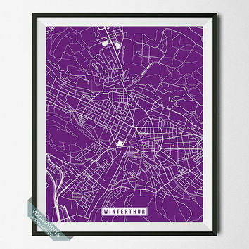 Winterthur Print, Switzerland Poster, Winterthur Poster, Winterthur Map, Switzerland Print, Street Map, Switzerland Map, Wall Art