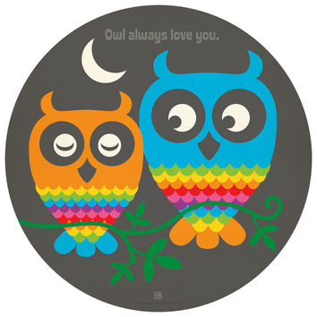 Anderson Design Group's Rainbow Owls Circle Decal