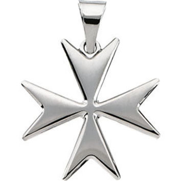 14K White Maltese Cross Pendant with Packaging