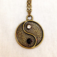 Bronze yin-yang with white and black crystals pendant charm necklace