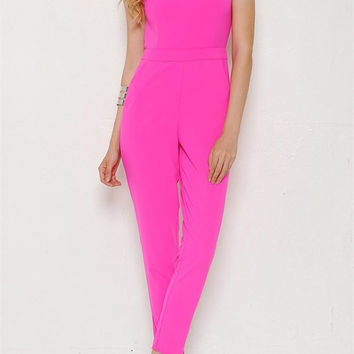 Laila Low Cut Jumpsuit - Hot Pink