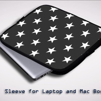 Black Stars Pattern X0187 Sleeve for Laptop, Macbook Pro, Macbook Air (Twin Sides)