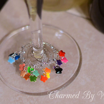 """6 Wine Charms """"Flower Clusters"""": Gift idea, wedding or shower favor, Summer Birthday"""