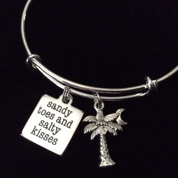 Sandy Toes and Salty Kisses Word Quote on Expandable Adjustable Wire Bangle Bracelet Ocean Nautical Gift