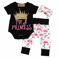 summer cute toddler Newborn Baby Girls clothes  Princess Crown Print Rompers+Pants+Headband 3pcs Outfits Set