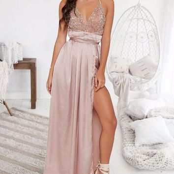 New Apricot Patchwork Sequin Cross Back Deep V-neck Sparkly Prom Evening Party Maxi Dress