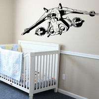 Clone Wars Wall Decal Star Wars Vinyl Wall Art - Nursery Decal - Kids Room Decor - Gunship