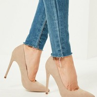 Missguided - Nude Faux Suede Pointed Toe Pupms