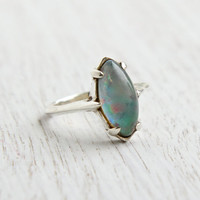 Vintage Sterling Silver Foil Glass Ring - Size 6 Colorful Faux Opal Cabochon - Blue, Green, Pink Jewelry / Iridescent Fused Glass Marquise