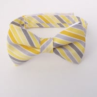 Boy's Bow Tie, Yellow and Grey Bow Tie, Striped Bow Tie, Bias Stripe, Diagonal Stripe, Ring Bearer Gift, Canary, Steel, Sunny