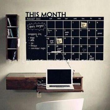 ONETOW Day-First? Home & Office Decor Chalk Board Blackboard Monthly Calendar Vinyl Wall Sticker (Size: 100cm*60cm) [8070934023]