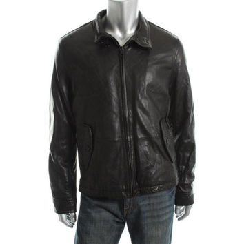 Tommy Hilfiger Mens Leather Lined Motorcycle Jacket