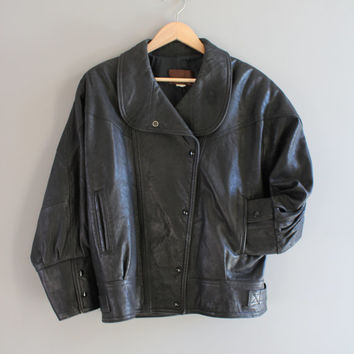 80s Black Leather Jacket Genuine Leather Bomber 80s 90s Leather Parka Bat Wing Unisex Vintage  Size M - L