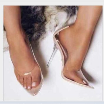 New hot selling transparent pointed high sexy PVC single shoes