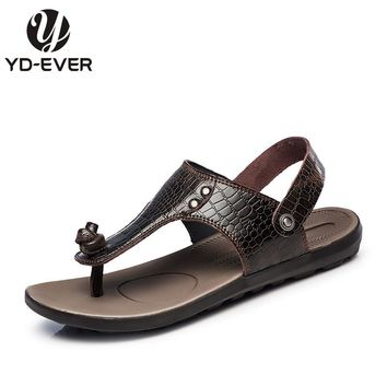 new 100% Genuine Leather Men sandals,Summer brand beach slippers crocodile Men's flip flops casual moccasin plus size sandals
