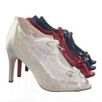 Paris17 Satin Floral Lace Bridal Wedding Peep Toe High Heel Dress Pump Sandal