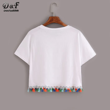 Woman Summer Style Ladies White Contrast Fringe Crop Tops Casual Cute Short Sleeve Crew Neck T-shirt